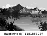 tropical landscape with sea bay ... | Shutterstock .eps vector #1181858269