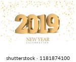 vector text design 2019. gold... | Shutterstock .eps vector #1181874100