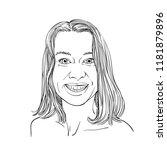 sketch of beautiful happy young ...   Shutterstock .eps vector #1181879896