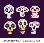 colorful mexican skull... | Shutterstock .eps vector #1181886736