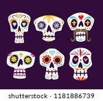 colorful mexican skull... | Shutterstock .eps vector #1181886739