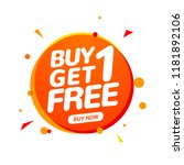 buy 1 get 1 free sale tag.... | Shutterstock .eps vector #1181892106