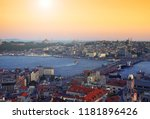 a romantic sunset in istanbul ... | Shutterstock . vector #1181896426