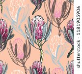 seamless pattern with protea... | Shutterstock .eps vector #1181905906