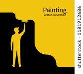 painter paints wall silhouette. ... | Shutterstock .eps vector #1181912686