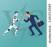 robot vs human. versus concept. ... | Shutterstock .eps vector #1181913589