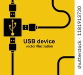 usb cable are connected to hub. ... | Shutterstock .eps vector #1181913730