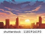 Evening City Panorama  Vector ...