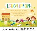template. pupils on outdoor... | Shutterstock .eps vector #1181919853
