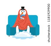 snowman sick sitting in... | Shutterstock .eps vector #1181929900
