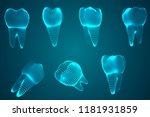 vector set of 3d teeth for... | Shutterstock .eps vector #1181931859