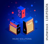 isometric music equipment sound ... | Shutterstock .eps vector #1181933656