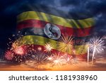 holiday sky with fireworks and... | Shutterstock . vector #1181938960