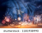 holiday sky with fireworks and... | Shutterstock . vector #1181938990
