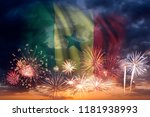 holiday sky with fireworks and... | Shutterstock . vector #1181938993