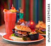 beeef burger with cocktail in a ... | Shutterstock . vector #1181941666