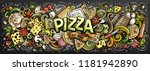 cartoon cute doodles pizza word.... | Shutterstock .eps vector #1181942890