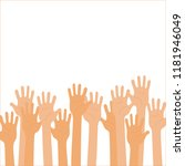 isolated up hands holding... | Shutterstock .eps vector #1181946049