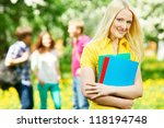 one happy smiling student girl... | Shutterstock . vector #118194748