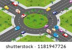 urban area with an intersection ... | Shutterstock .eps vector #1181947726