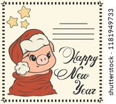 christmas post card with cute... | Shutterstock .eps vector #1181949733