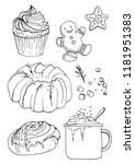 sketch christmas sweets. baking ... | Shutterstock .eps vector #1181951383