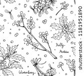 pattern christmas decor  plants ... | Shutterstock .eps vector #1181951890