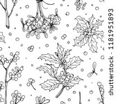 pattern christmas decor  plants ... | Shutterstock .eps vector #1181951893