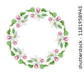 watercolor apple blossom flower.... | Shutterstock . vector #1181958943