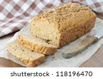 Homemade bread with bran and coriander seeds horizontal - stock photo