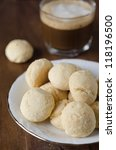 Mini shortbread biscuits and coffee close up, selective focus - stock photo
