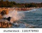 waves splashing on the rocks | Shutterstock . vector #1181978983