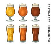 glass with three types beer  ... | Shutterstock .eps vector #1181981596