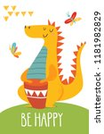 cool vector flat style be happy ... | Shutterstock .eps vector #1181982829