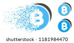 bitcoin coins icon in dissolved ... | Shutterstock .eps vector #1181984470