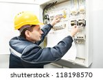 one electrician builder at work ... | Shutterstock . vector #118198570