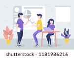 office meeting  workers discuss ... | Shutterstock .eps vector #1181986216