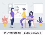 office meeting  workers discuss ... | Shutterstock .eps vector #1181986216