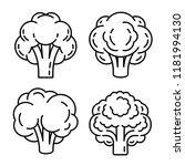 broccoli icon set. outline set... | Shutterstock .eps vector #1181994130