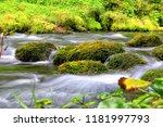 mountain stream among the mossy ... | Shutterstock . vector #1181997793