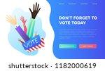 set of hand draw hands. voting... | Shutterstock .eps vector #1182000619