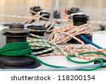 sailing ropes over deck boat | Shutterstock . vector #118200154