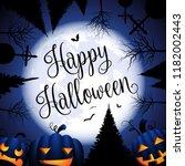 happy halloween card with... | Shutterstock .eps vector #1182002443
