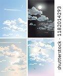 set sky with clouds  heaven ... | Shutterstock .eps vector #1182014293