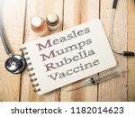 mmr measles mumps rubella...   Shutterstock . vector #1182014623