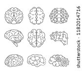 memory brain icon set. outline... | Shutterstock .eps vector #1182014716