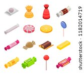 sugar candy icon set. isometric ...   Shutterstock .eps vector #1182014719
