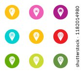 geo point icons set. flat set... | Shutterstock .eps vector #1182014980