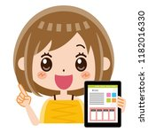 a woman with a tablet pc.   Shutterstock .eps vector #1182016330