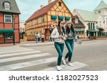two good friends crossing the...   Shutterstock . vector #1182027523